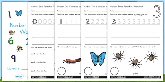 Number Formation Workbook Minibeasts - number forming, minibeast