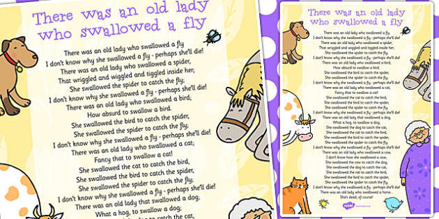 There Was an Old Lady Who Swallowed a Fly Song - song, swallowed
