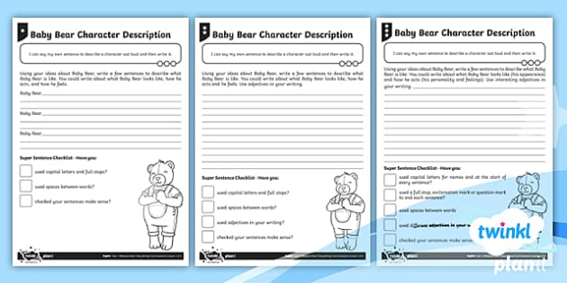 Baby Bear Character Description Differentiated Activity Sheet to Support Teaching on Whatever Next!  - Planit English Space, 'Whatever Next!', Jill Murphy, Character Description, Adjectives, Year One,
