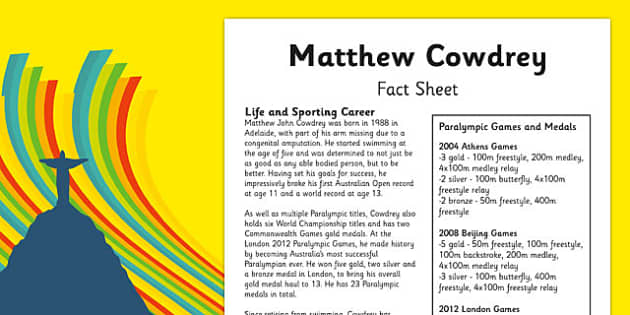 Australian Olympic Athletes Fact Sheet Matthew Cowdrey - Australia, Olympic Games, Olympics, Paralympics, Athletes, Information, Fact Sheet, Reading Comprehension, Year 6 History