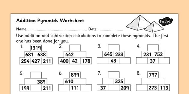 Addition Pyramids Worksheet 2 addition pyramids addition – Maths Pyramid Worksheet