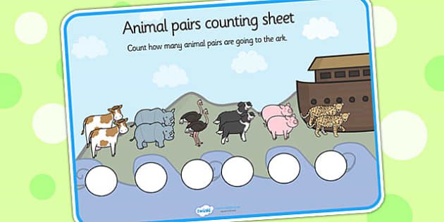 Animal Pairs Counting Worksheet - animals, counting, worksheets