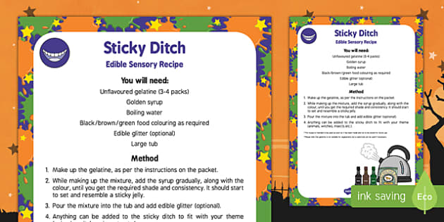 Sticky Ditch Edible Sensory Recipe