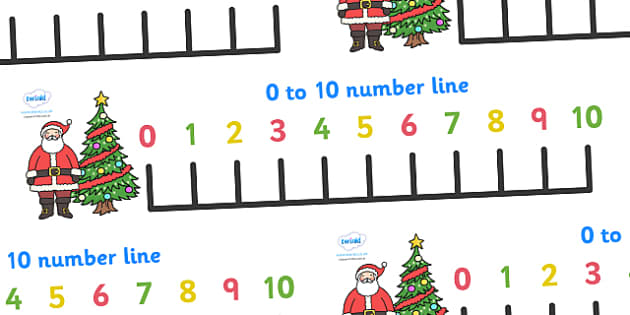 0-10 Christmas Number Line Banner - 0-10, christmas, numberline