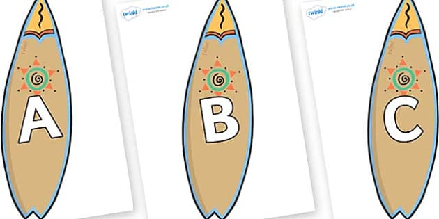 A-Z Alphabet on Surf Boards - A-Z, A4, display, Alphabet frieze, Display letters, Letter posters, A-Z letters, Alphabet flashcards