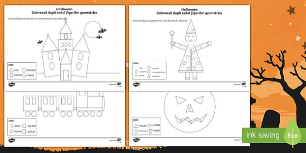 Halloween - Colorează după codul figurilor geometrice Fișe de colorat