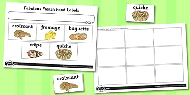 What a Wonderful World Fabulous French Food Labels - activity