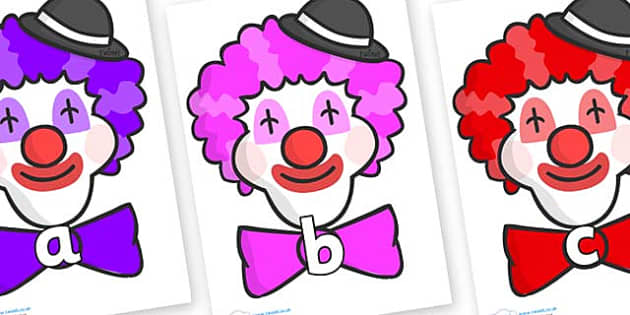 Phase 2 Phonemes on Clown Faces - Phonemes, phoneme, Phase 2, Phase two, Foundation, Literacy, Letters and Sounds, DfES, display