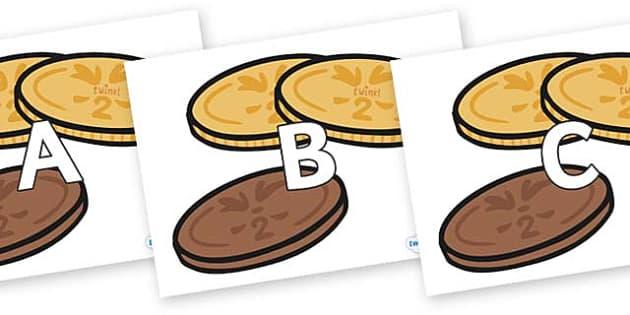 A-Z Alphabet on Chocolate Coins - A-Z, A4, display, Alphabet frieze, Display letters, Letter posters, A-Z letters, Alphabet flashcards