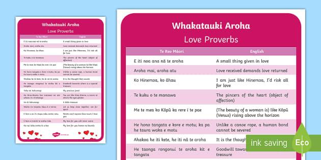Māori Love Proverbs A4 Display Poster Te Reo Māori/English - Māori Phrase Book, aroha, love, whakatauki, aroha