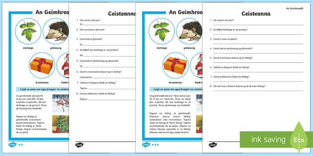 An Geimhreadh 3rd and 4th Class Differentiated Reading Comprehension Activity - Gaelige - Differentiated Winter in Ireland Comprehensions ROI, gráinneog, ialtóg, geimhreadh, nollag, duille