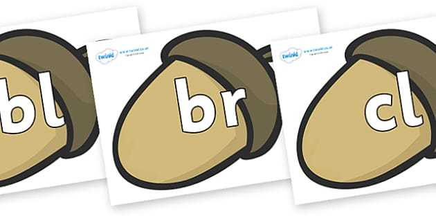Initial Letter Blends on Brown Acorns - Initial Letters, initial letter, letter blend, letter blends, consonant, consonants, digraph, trigraph, literacy, alphabet, letters, foundation stage literacy
