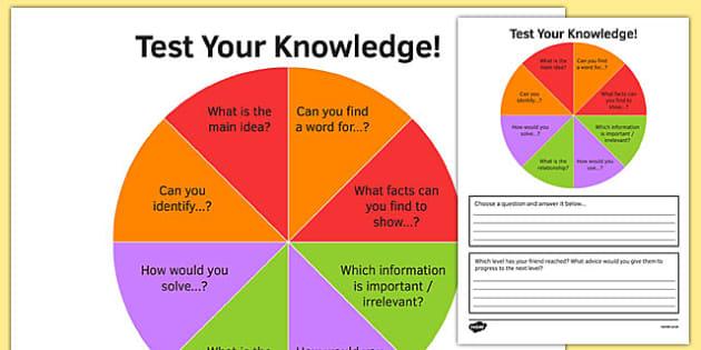 KS3 Bloom's Taxonomy Peer Assessment Wheel Remembering Understanding Application and Analysis - ks3, blooms taxonomy, peer assessment