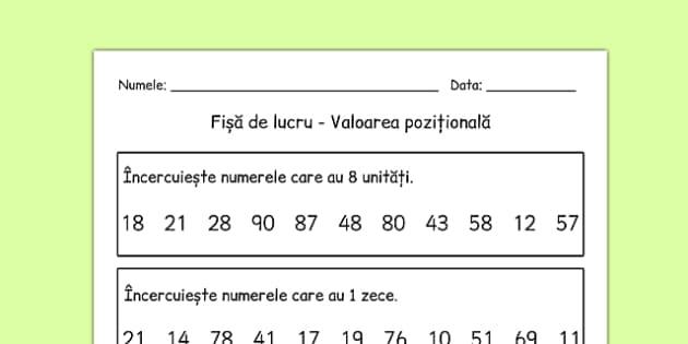 Valoarea pozitionala, Fisa - matematica, zeci, unitati, fise
