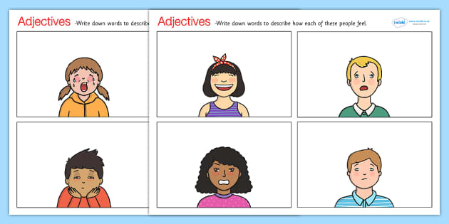 Feelings Adjectives Worksheets - adjectives, adjectives worksheets, feelings adjectives, how do they feel, recognising emotions worksheet, ks2