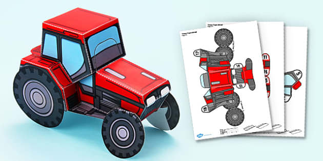 3D Tractor Paper Model Display Activity - 3d, tractor, paper model