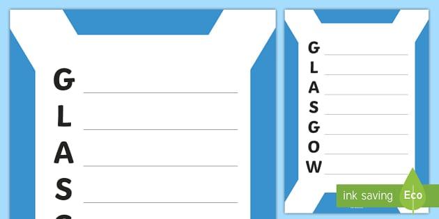 Glasgow Acrostic Poem - Scottish Cities, glasgow, poetry, writing,Scottish