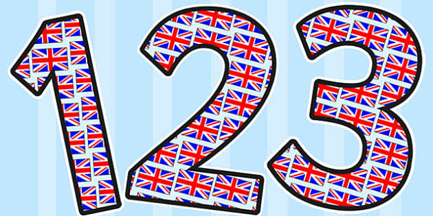 Union Jack Themed Display Numbers - display, numbers, union