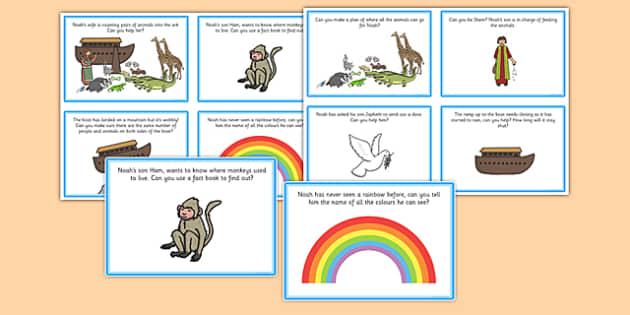 Noahs Ark Role Play Challenge Cards - noah, ark, role play, card