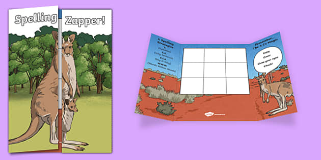Kangaroo Themed Blank Spelling Zapper - spelling zapper, spell, spelling, zapper, dyslexic, dyslexia, learn, tricky words, personalise, words, blank, kangaroo