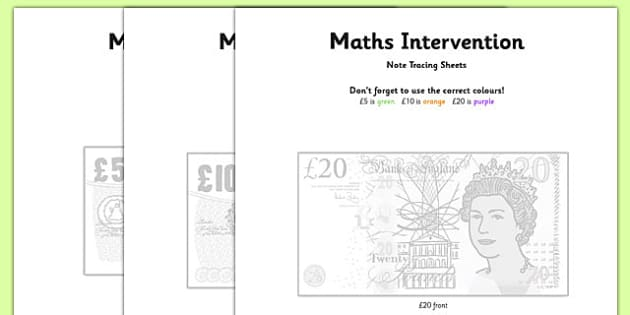 Maths Intervention Note Tracing Sheets - SEN, special needs, maths, money, counting money, recognising money, adding money, coins, notes