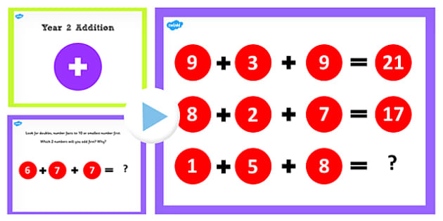 Year 2 Adding Three One Digit Number Lesson 4 Strategy PowerPoint