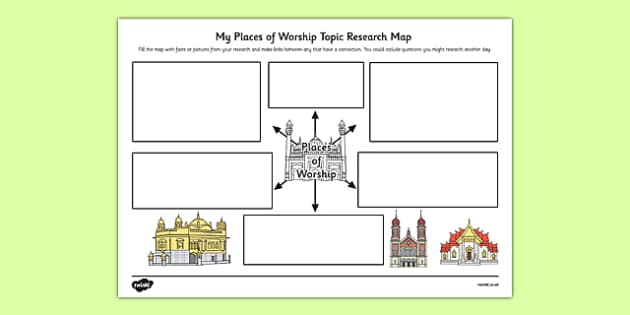 Places of Worship Topic Research Map - research map, worship