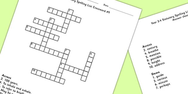 Year 3-4 Statutory Spelling List Crossword 9 - crossword, spell