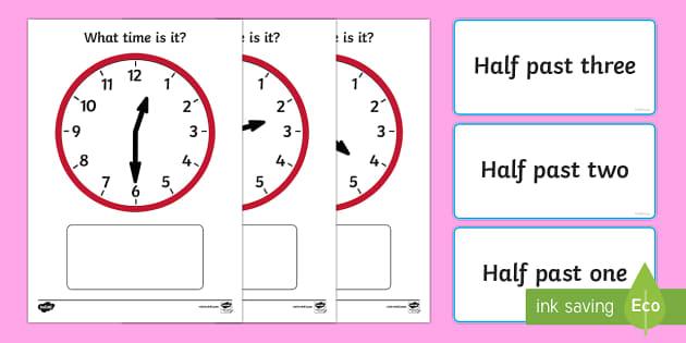 Analogue Clocks Half Past Matching - australia, half past, match