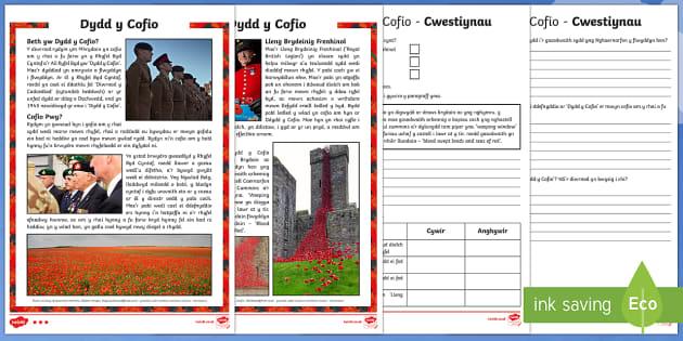 Dydd y Cofio Darllen a Deall Gwahaniaethol-Welsh
