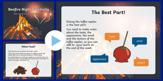 Bonfire Night Creativity Lesson 3 Food and Fireworks PowerPoint