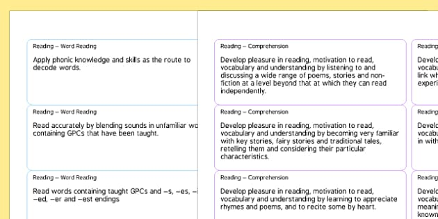 2014 Curriculum Year 1 English Reading Objectives on Sticker Template - curriculum, year 1, reading, objectives, sticker