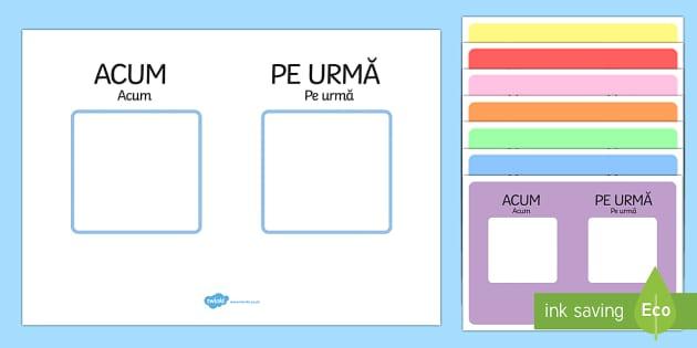 Acum și Pe urmă - Planșe cu suport vizual - acum, apoi, planșe, orar vizual, orentare temporală, autism, materiale, română, Romanian