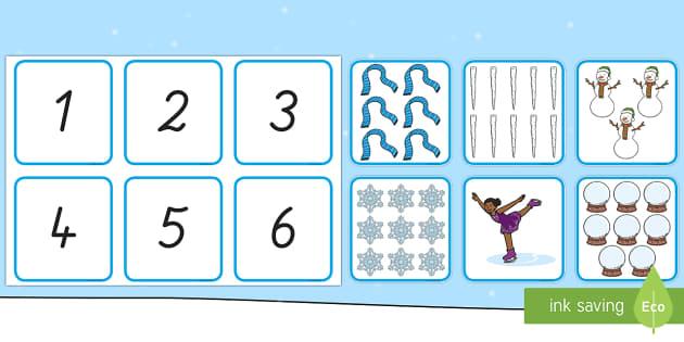 Winter: Zahlen und Bilder 1 bis 10 Memory Karten - Zahlen, 1 bis 10, 1 - 10, Memory Spiel, Zahlen erkennen,German