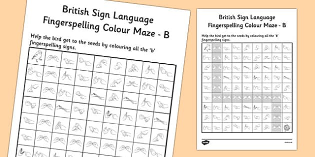 British Sign Language Left Handed Fingerspelling Colour Maze B