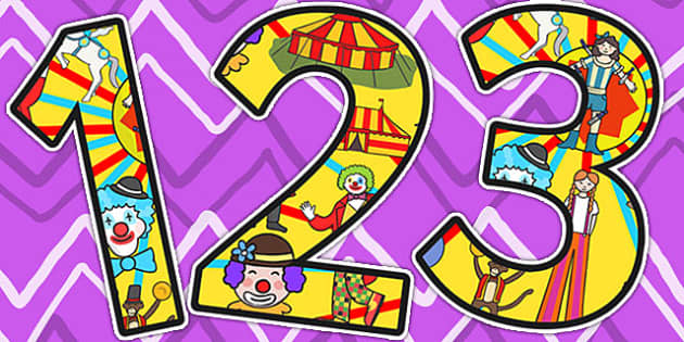 Circus Themed A4 Display Numbers - numbers, classroom display