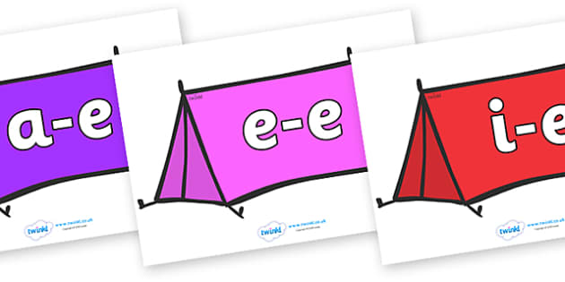Modifying E Letters on Tents - Modifying E, letters, modify, Phase 5, Phase five, alternative spellings for phonemes, DfES letters and Sounds