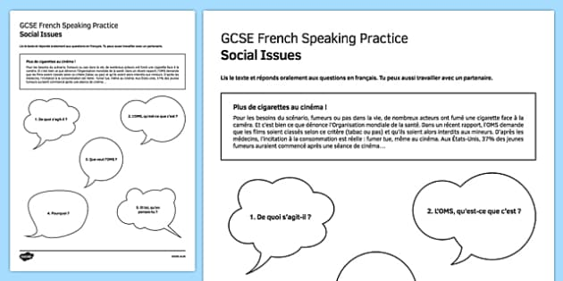 L'OMS contre le tabac Speaking Practice Activity Sheet - French, worksheet