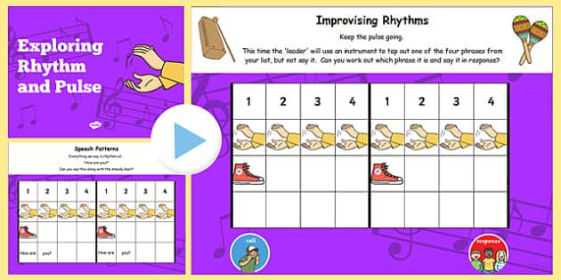 Rhythm and Pulse Lesson Teaching Flipchart - rhythm, pulse, teach