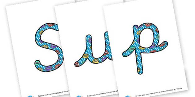 Handwriting - display lettering - Superheroes Display Primary Resources,  Superheroes, Display