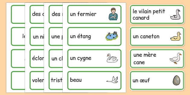 The Ugly Duckling Word Cards French - french, The Ugly Duckling, Hans Christian Andersen, Andersen, fairy tale, word cards, cards, flashcards, Danish, bird, barnyard, swan, beautiful, ugly, transformation, tale, story, reading