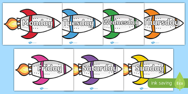 Days of the Week on Rockets - Weeks poster, Weeks display, Rockets poster, Days of the week, space, topic, days, weeks