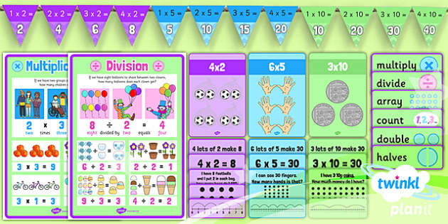 PlanIt Y1 Multiplication and Division Display Pack - symbols, making connections arrays, multiplication and division display, vocabulary classroom display, posters