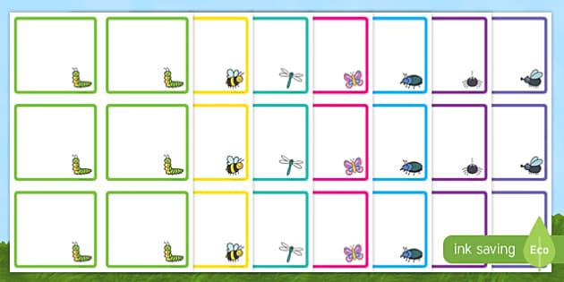 Minibeast Themed Square Peg Labels