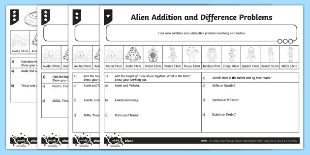 Alien Addition and Difference Problems Differentiated Activity Sheets - Measurement, addition, adding, subtraction, subtracting, measurements, centimetres, add, subtract, y