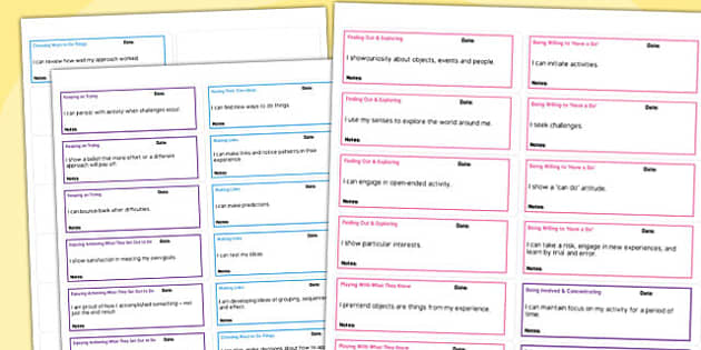 EYFS Characteristics of Effective Learn I can Statements Stickers