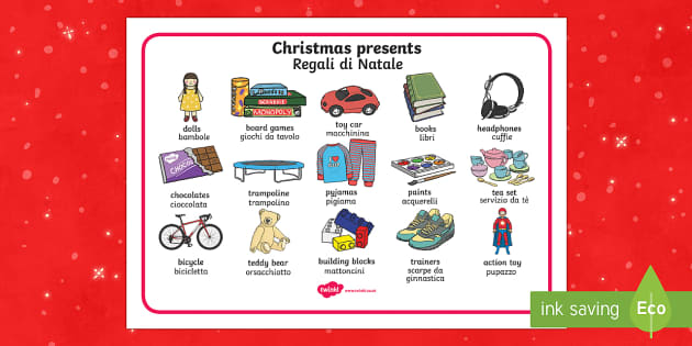 Christmas presents Word Mat italian translation English/Italian - Christmas Presents Word Mat - Christmas, xmas, presents, present, writing about christmas, what I'd