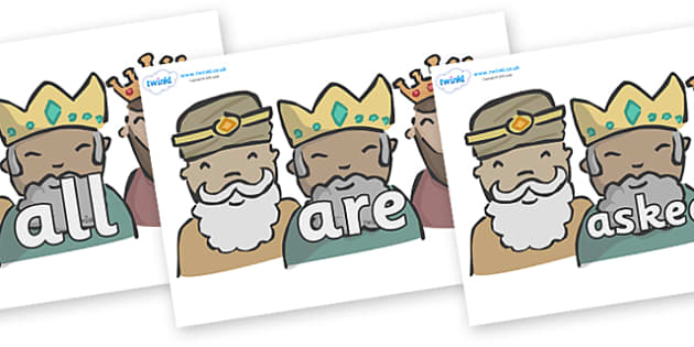 Tricky Words on Three Kings - Tricky words, DfES Letters and Sounds, Letters and sounds, display, words