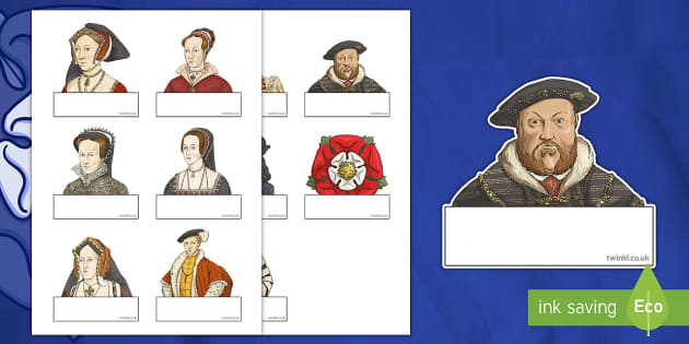 Editable Self Registration Labels (The Tudors) - Tudors, Henry, history, Henry VIII, Tudor, England, Queen Elizabeth I, Church of England, reformation