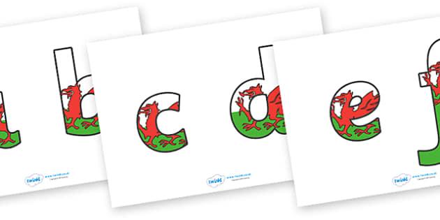 Llythrennau Bach Baneri Cymru - Welsh, Wales, display lettering, display, lettering, lowercase, lower, alphabet